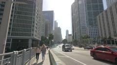 Walking on Brickell Avenue bridge, Miami, Florida Stock Footage