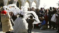 White swan dress posing in Venice Italy during the carnival Stock Footage