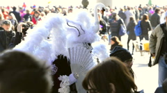 White swan dress posing in Venice Italy during carnival Stock Footage