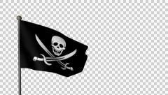 3D Model Of Animated Jolly Roger - Pirate Flag Stock Footage