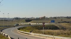 Traffic in the Entrance and Exit from the Highway Stock Footage