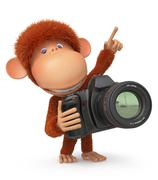 3d monkey photographer - stock illustration