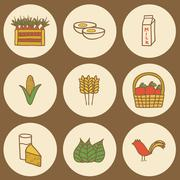 Set of hand drawn icons on farm products theme - stock illustration