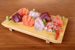 Sashimi on tray Stock Photos