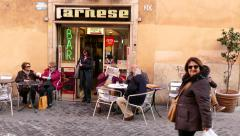 Bar People Friends Clients Customers Tourists Rome Roma Italy Italia Stock Footage