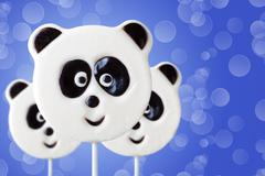 Lollipop in the form of an panda Stock Photos