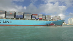 Miami port with Loaded container ship, Florida Stock Footage