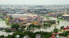 Time Lapse of Busy Shipping Container Port in Ho Chi Minh City (Saigon) Stock Footage