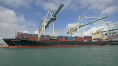 Miami port- Unloading a container ship Stock Footage