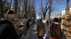 Selling souvenirs and handicrafts in Chișinău, Moldova Stock Footage