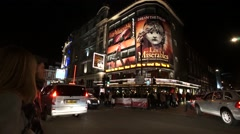 Outside view of Queen's Theatre, Night. Stock Footage