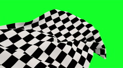Checkered flag against green screen Stock Footage
