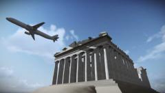 Tour airplane flying over the Parthenon in Acropolis, Athens, Greece Stock Footage