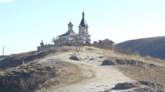 4K video with Christian Church on a hill in Old Orhei, Moldova Stock Footage