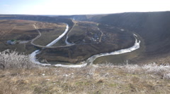 Răuț river bed covered in ice in Old Orhei, Moldova Stock Footage