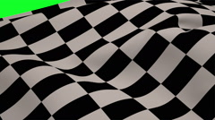 Checkered flag blowing on green screen Stock Footage