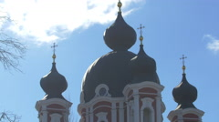 Curchi Orthodox Monastery dome in Old Orhei, Moldova Stock Footage