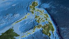 Philippines, glide over the map, outlined Stock Footage