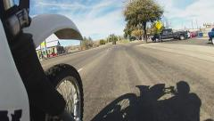 Motorcycle POV Andy Devine Ave. Thru Kingman Arizona- Low Angle Stock Footage