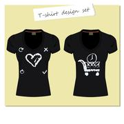 Stock Illustration of Black women's t-shirts with the label. Print design - different handmade past