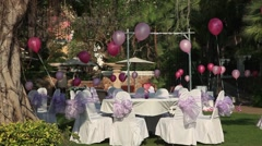 Happy Women's Day, March 8, celebration on open-air restaurant in the hotel. Stock Footage