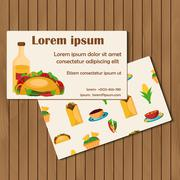 Template for cards or booklets on mexican food theme - stock illustration