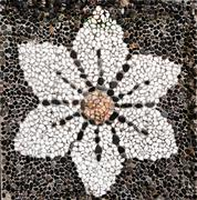 Pebblestone pavement texture with flower decoration Stock Photos