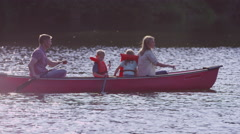 Stock Video Footage of Family paddling canoe