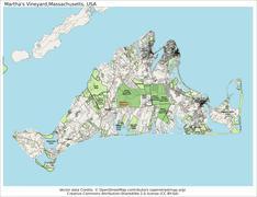 Martha's Vineyard Massachusetts island map - stock illustration