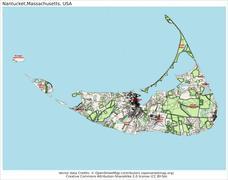 Nantucket Massachusetts island map - stock illustration