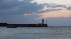 Working beacon in  early summer morning before sunrise. Yalta Stock Footage