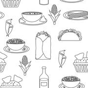 Seamless black-white background with mexican food - stock illustration