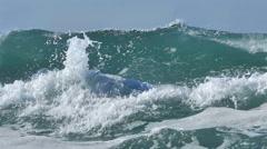 Ocean big wave sea splash foam blue sky slow motion full hd Stock Footage