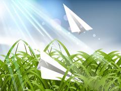 Paper plane - stock illustration