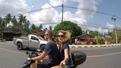 Attractive Couple Riding Motorcycle in Hot Summer Day. Slow Motion - stock footage
