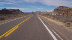 Motorcyclists View Passing RV Park Near Kingman AZ - stock footage