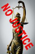 statue of Justice - sign no justice - stock photo