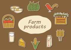 Icons with hand drawn farm produce Stock Illustration