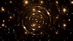 Abstract golden background with animated circles and stars. - stock footage