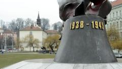 Statue in the city (end of world war ii: 1938-1945) - Prague, Czech Republic Stock Footage