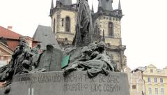 Statue on Old Town Square in Prague - buildings - cloudy Stock Footage