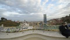 Barcelona Park Guell Steadicam/Flycam Walk to reveal view of City Stock Footage