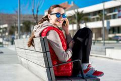 Sport woman on the promenade - stock photo
