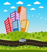 Cartoon downtown road landscape Stock Illustration