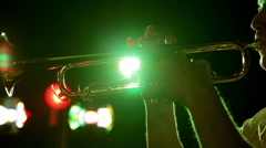 Trombone on the background lights Stock Footage