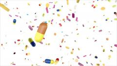Different colorful pills and drugs falling down, on white background (FULL HD) Stock Footage