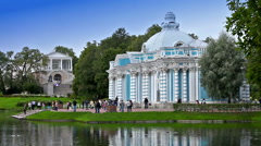 "Pavilion ""Grotto"" on  bank of  Big pond of Catherine Park in Pushkin , Russia - stock footage"
