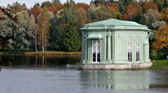Ancient pavilion in park. Gatchina. Petersburg. Russia Stock Footage