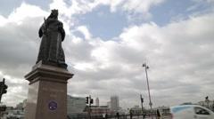 Queen Victoria Statue Blackfriars Bridge London (B-Roll/Cutaway/GV) | HD 1080 - stock footage