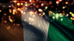 Cote D'Ivoire Flag Light Night Bokeh Abstract Loop Animation 4K Stock Footage
